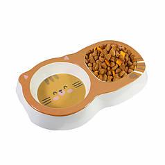 Миска для котів і собак подвійна Taotaopets 115506 Orange пластикова