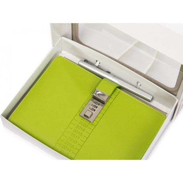 Блокнот-ежедневник с кодовым замком CAGIE Biz 96 Зеленый  (RZ491)