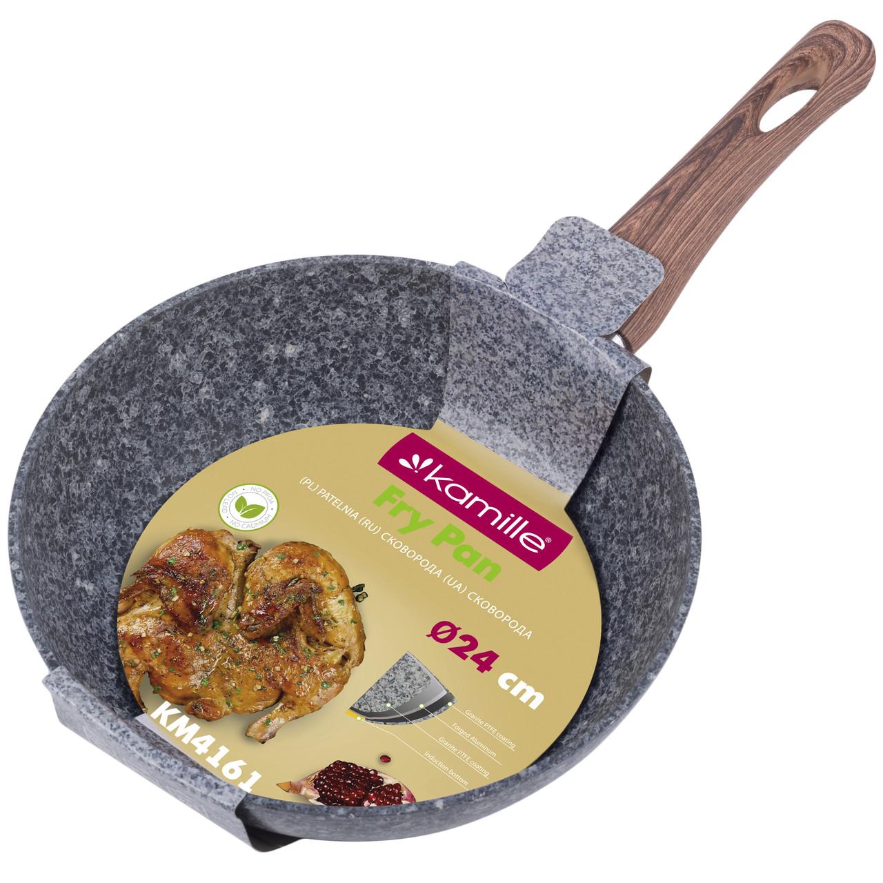 Сковорода Kamille 24см с антипригарным покрытием PTFE из алюминия для индукции и газа KM-4161