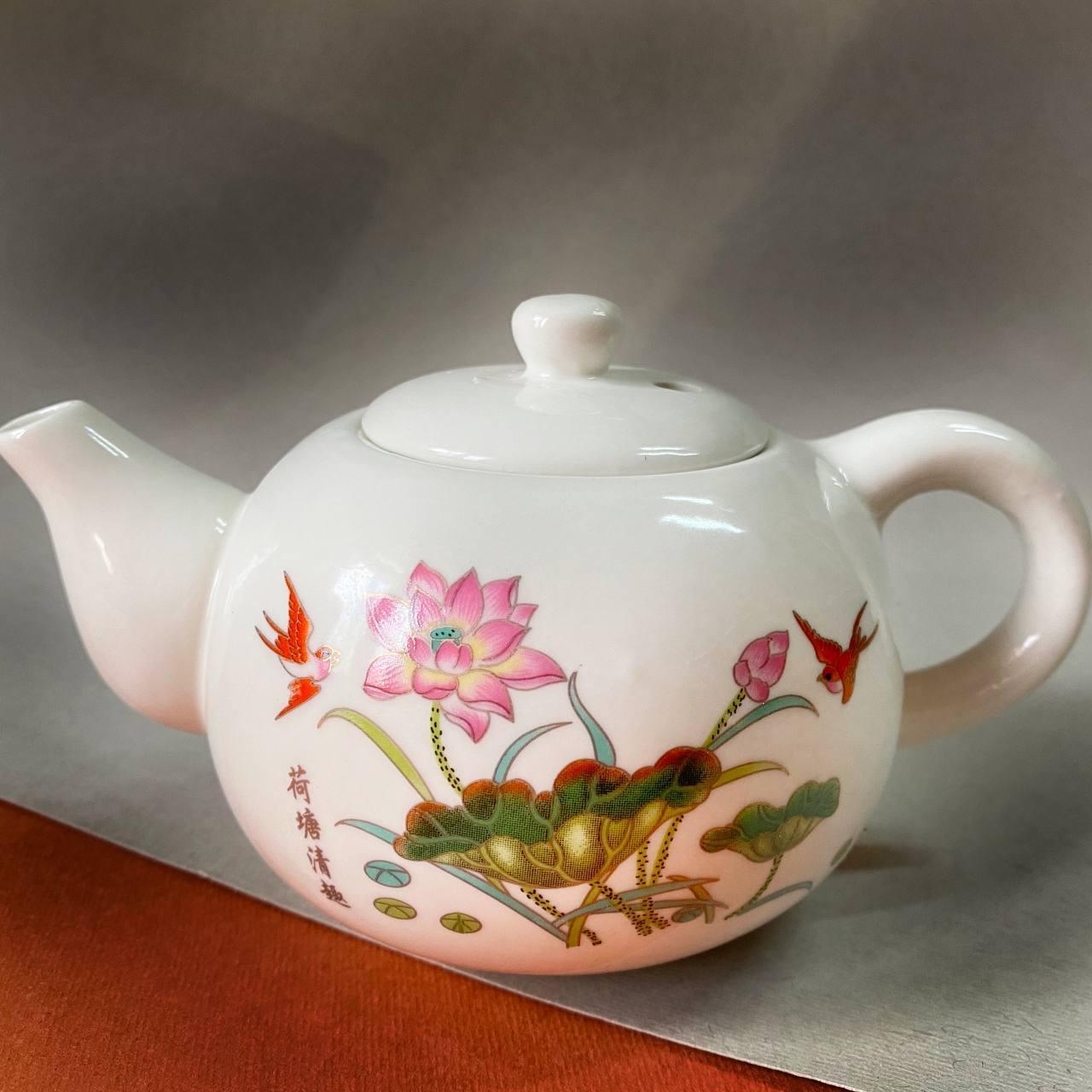 Заварочный чайник 280 мл фарфоровый с рисунком с рисунком