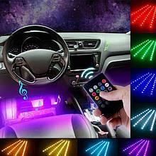 Декоративная RGB LED подсветка в авто Car atmosphere Light с пультом, влагостойкая, в прикуриватель