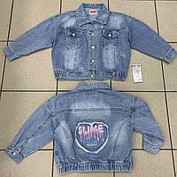 Джинсовый детский пиджак для девочек оптом  Н&Н