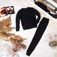 Женский спортивный костюм Bassic теплый на флисе черый   Зимний комплект женский Свитшот + Штаны ЛЮКС качества