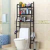 Полиця-стелаж підлоговий над унітазом Чорна   полку у ванну   етажерка для ванної