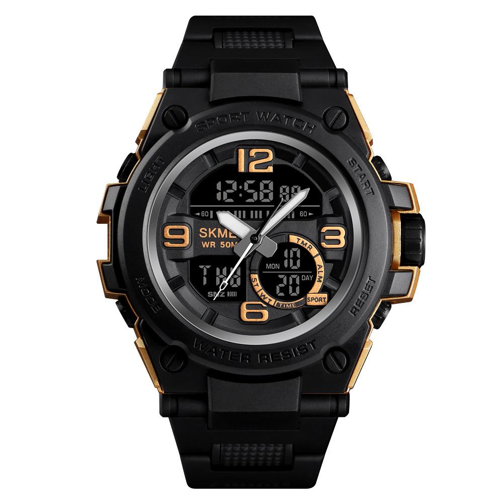 Skmei 1452 shark  золотые мужские спортивные часы