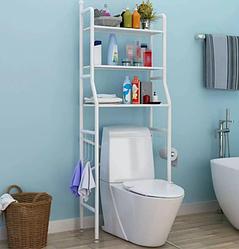 Полка-стеллаж напольный над унитазом Белая | полка в ванную | этажерка для ванной