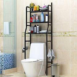 Полка-стеллаж напольный над унитазом Чёрная | полка в ванную | этажерка для ванной