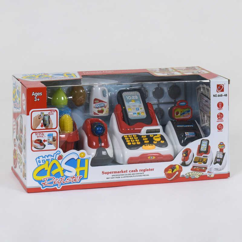 Кассовый аппарат 668-48 (12) световые и звуковые эффекты, корзинка с продуктами, в коробке