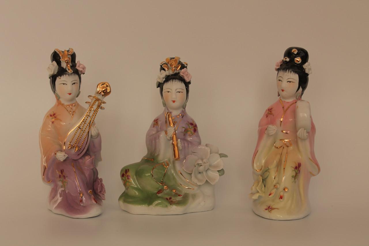 Статуетки порцелянові - Китайські дівчата, ігрющіе на музичних інструментах