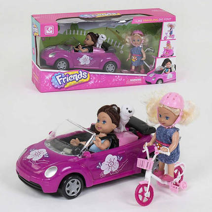Кукла с машинкой К 899-76 (36/2) 2 куклы, питомец, велосипед, аксессуары, в коробке , фото 2