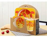 Набор детской посуды из бамбука жираф на 5 предметов