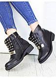 Жіночі зимові чоботи натуральна шкіра чорні, фото 2