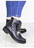 Жіночі зимові чоботи натуральна шкіра чорні, фото 7