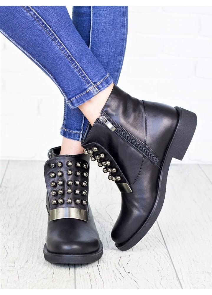 Жіночі зимові чоботи натуральна шкіра чорні