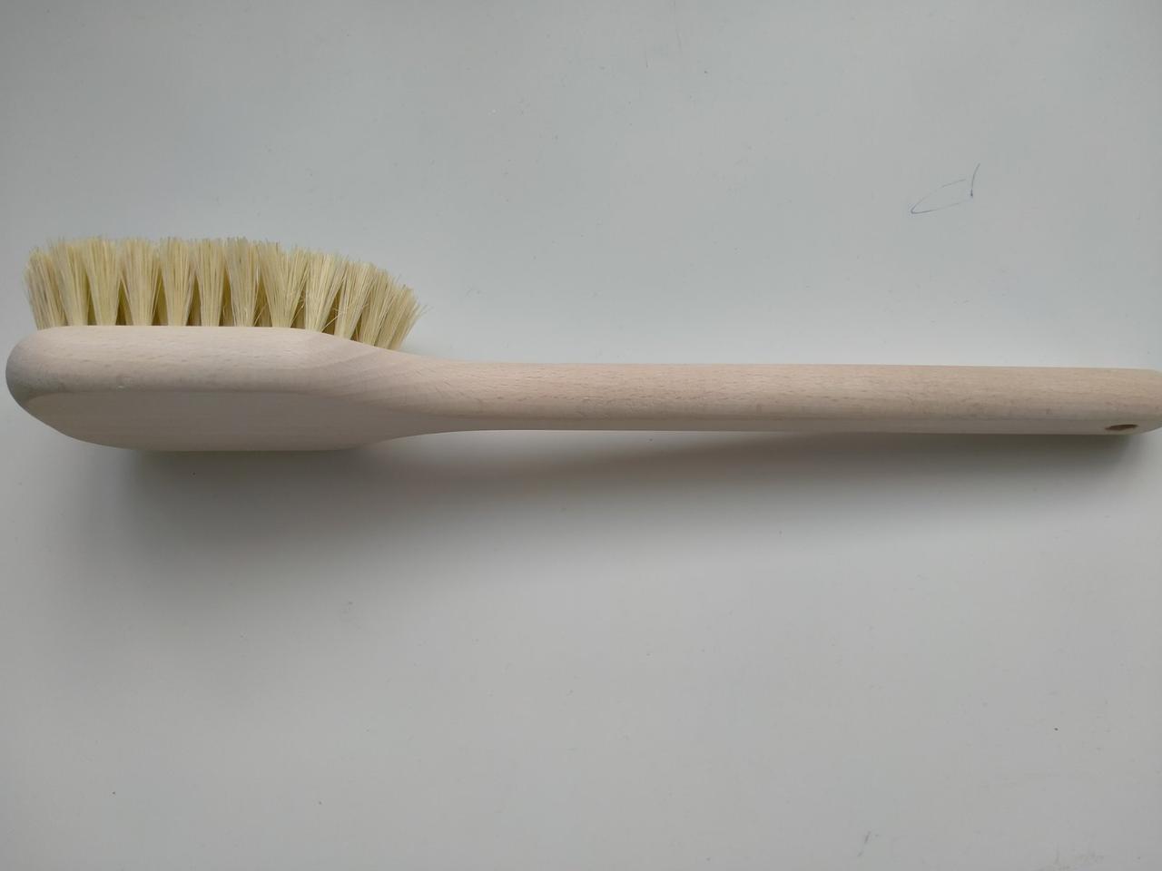 Щетка для сухого массажа щетина тампико (кактусовое волокно) дерево бук длинная ручка