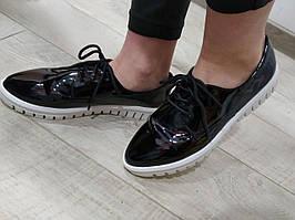 Туфли Sopra 6018 шнурок 38 Черные лак 3 см, Подробнее, Лаковая кожа, 36, Демисезон, Повседневные, Китай, Черный
