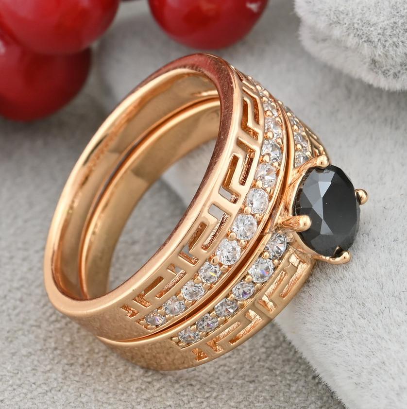 Кольцо Xuping двойное 15160 размер 17 ширина 11 мм вес 4.6 г белые и черный фианиты позолота 18К