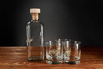 Набор 3 стакана для виски и графин с самолетом