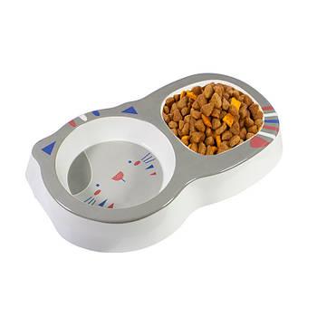 Миска для котов и собак двойная Taotaopets 115506 Grey пластиковая