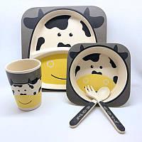 Набор детской посуды из бамбука Коровка на 5 предметов