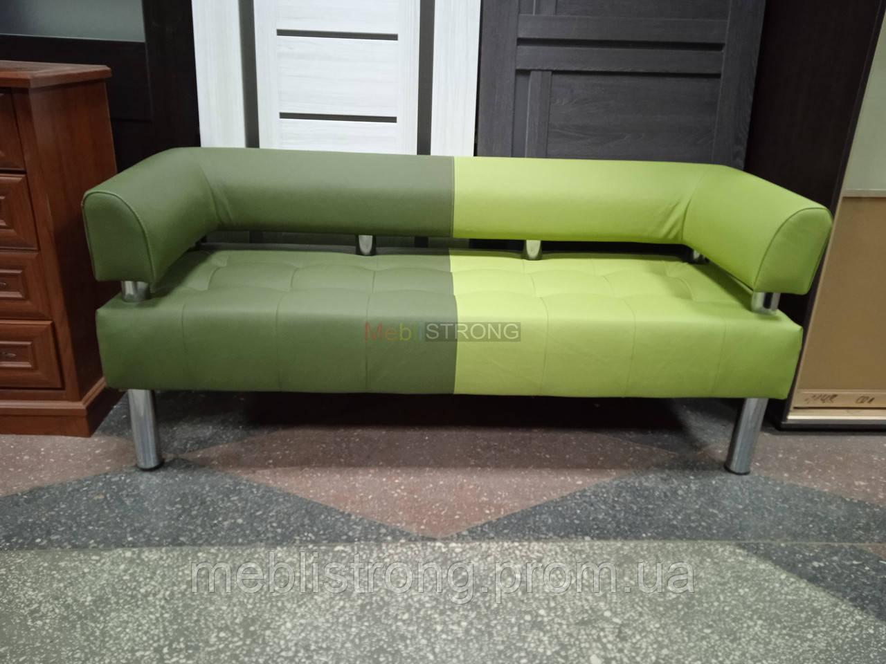 Офисный диван в офис Стронг Mix (MebliSTRONG) - темно-светло зеленый матовый цвет