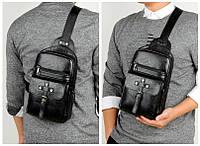 Мужской однолямочный рюкзак Сумка нагрудная через плечо с USB выходом