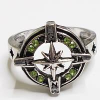 """Кольцо амулет """"Роза ветров"""", зеленые кристаллы. Размер 19."""