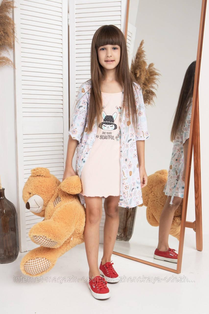 """Комплект на девочку сорочка и халатик с цветочками """"Kleo"""""""