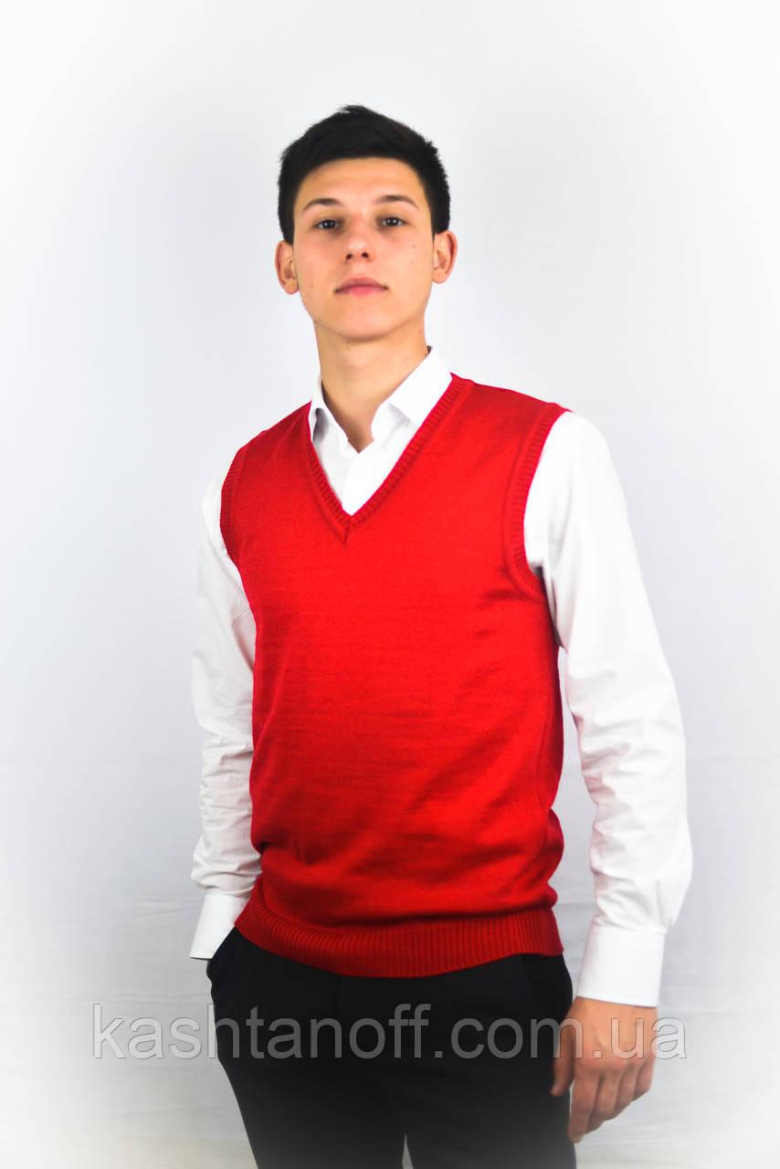 Красный вязанный жилет