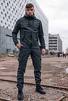 Спортивный костюм мужской весенний осенний Soft Shell серый   Комплект Куртка + Штаны на флисе ЛЮКС качества