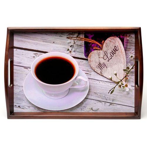 Поднос на подушке с ручками BST 040153 48*33 коричнево-бежевый Моя любовь
