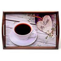 Піднос на подушці з ручками BST 040153 48*33 коричнево-бежевий Моя любов