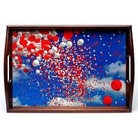 Піднос на подушці з ручками BST 040155 48*33 коричнево-блакитний Хмари