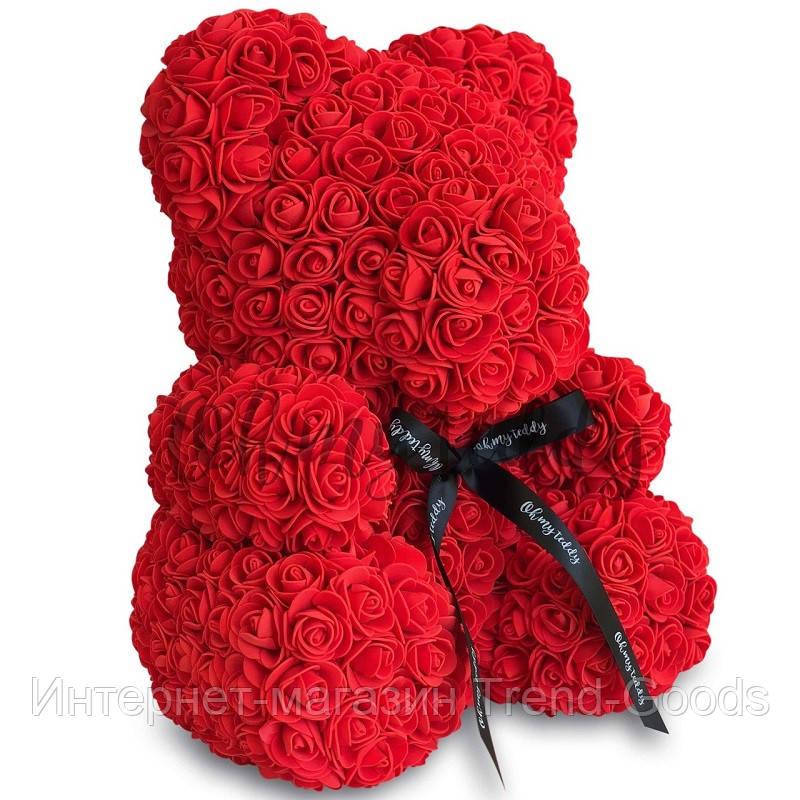 Мишка из искусственных 3D роз в подарочной упаковке 40 см красный SKL11-140102