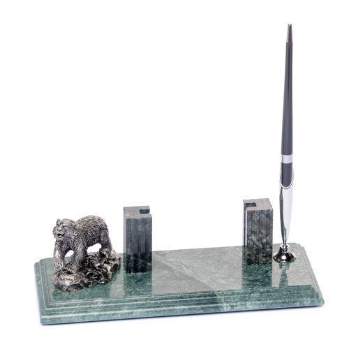 Підставка настільна для візиток і ручки BST 540035 24х10 мармурова Ведмідь