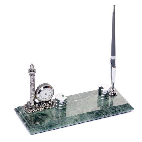 Подставка для визиток BST 540033 24х10 мраморная с часами и подставкой для ручки