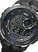 Q&Q M175J чорні з синіми вставками чоловічі спортивні годинник