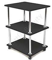 Косметологическая тележка, столик мастера маникюра 30х40х70см. Черная, материл ДСП (Мод. 001)