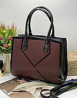 Женская сумка 08-17 бордо  Каркасная женская сумка недорого купить в Украине, фото 1