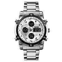 Skmei 1389  molot серебристые с белым мужские спортивные часы, фото 1
