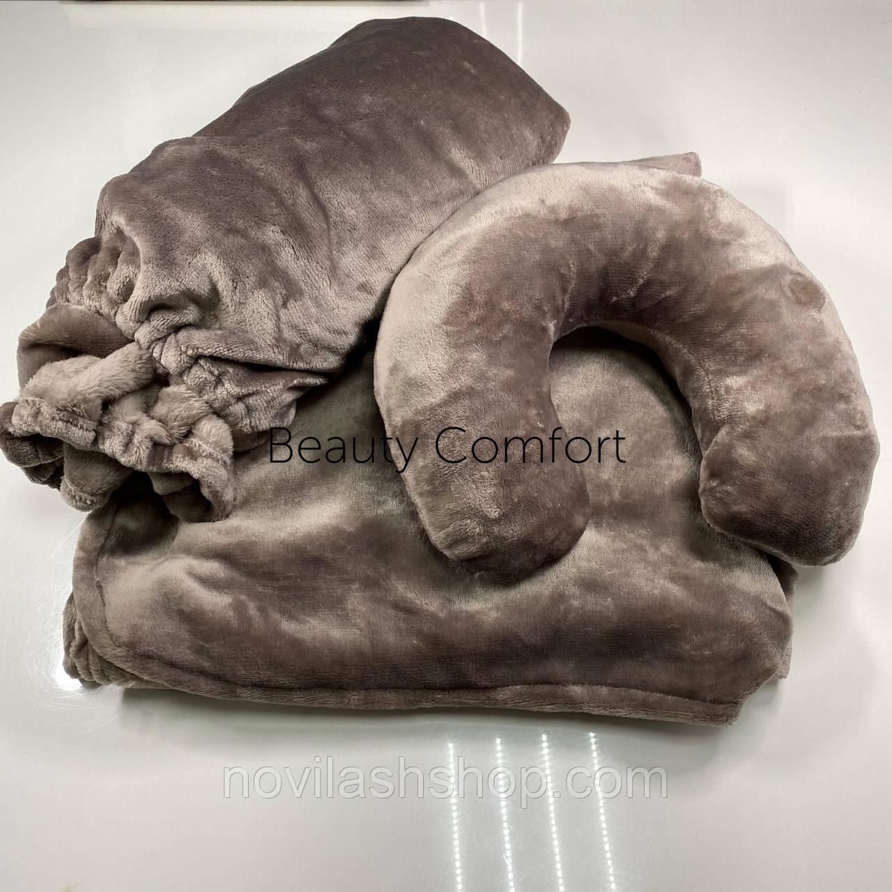 Набір 3в1(махра): чохол на кушетку, подушка, покривало Колір: блакитна пудра