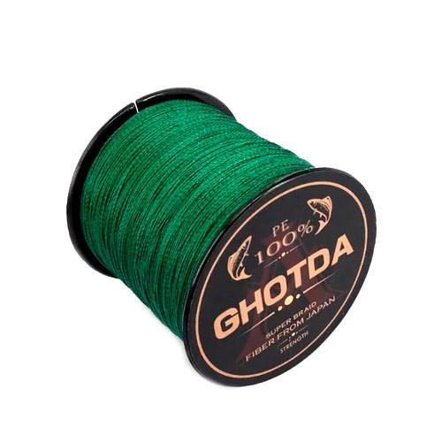 Шнур плетеный рыболовный 1000м 4жилы 0.16мм 8.1кг GHOTDA, зеленый