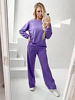 Костюм спортивний з широкими штанами однотонний жіночий БУЗОК (ПОШТУЧНО), фото 1