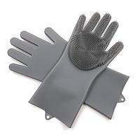 Хозяйственные силиконовые перчатки для уборки и мытья посуды Magic Silicone Gloves Темно-серый