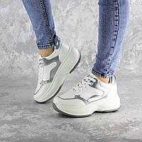 Кроссовки женские белые с серебром 2461, фото 1
