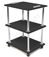 Косметологическая тележка, столик мастера маникюра с ручками 30х40х70см. Черная, материл ДСП (Мод. 001)