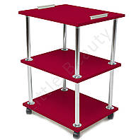 Косметологическая тележка, столик мастера маникюра с ручками 30х40х70см. Красная, материл ДСП (Мод. 001)
