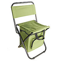 Складной стул для рыбалки, пикника, кемпинга, отдыха на природе с термосумкой, хаки, Стул рыбацкий, стул