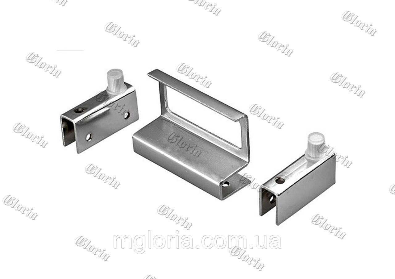 Набор для стекла ZS 9004  (2 петли + ручка хром)