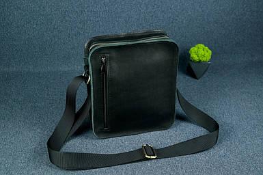 Кожаная мужская сумка Крис, натуральная кожа итальянский Краст цвет Черный